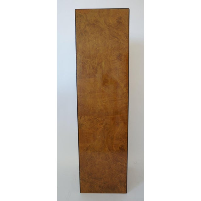 Drexel Mid-Century Modern Drexel Heritage Furniture Pedestal Burlwood Veneers For Sale - Image 4 of 10
