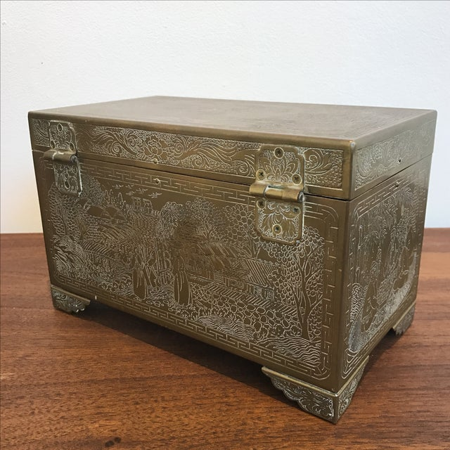 Frederick Cooper Chicago Brass Trinket Jewelry Box For Sale - Image 5 of 8
