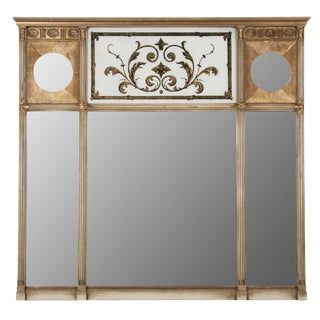 Regency Style Three Section Overmantle Mirror For Sale