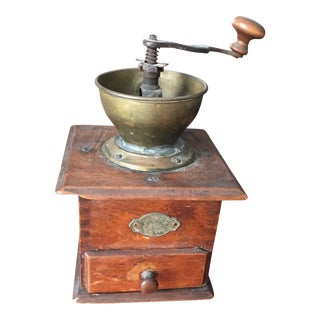 VIntage Early 1900's European Antique Wood and Brass Coffee Grinder