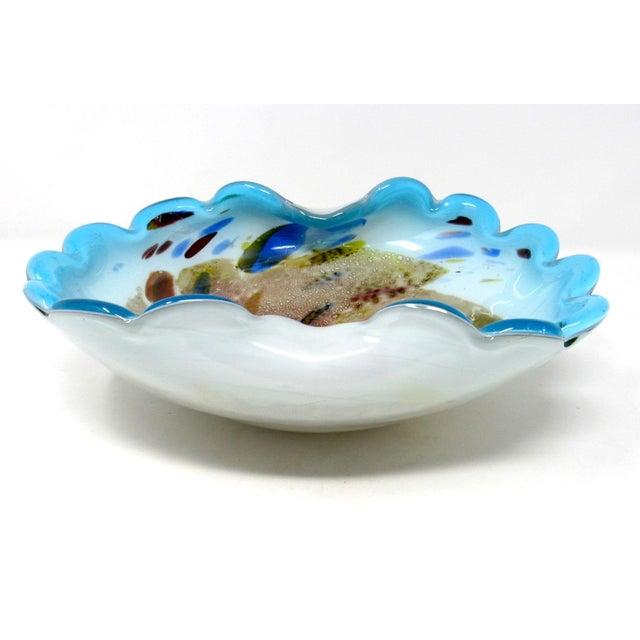 Mid-Century Modern 1950s Arte Vetraria Muranese Hand-Blown Biomorphic Art Glass Bowl For Sale - Image 3 of 10