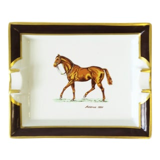 French Horse Equine Porcelain Catch-All Vide-Poche or Ashtray For Sale