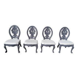 Pearl Gray Dining Chairs - Set of 4 For Sale