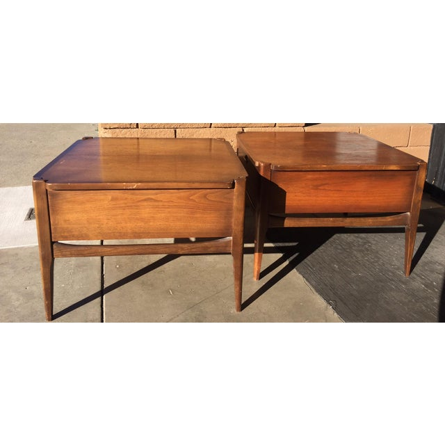 1960s Vintage Basset Walnut End Tables-a Pair For Sale - Image 6 of 9