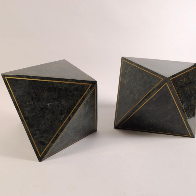 1980s Octahedron Tessellated Marble Side Tables For Sale In New York - Image 6 of 10