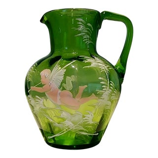1890 Green Glass Spring Cherub Pitcher For Sale