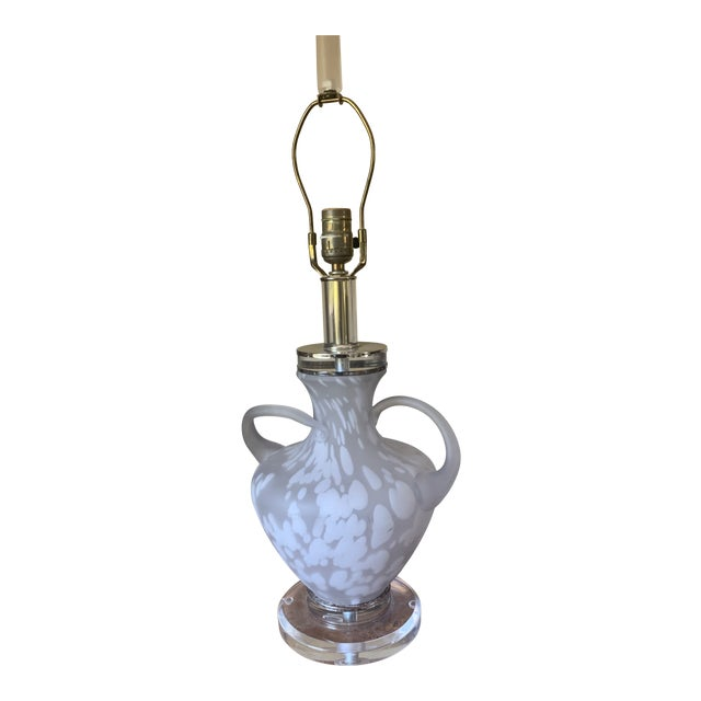 Mid-Century Glass Table Lamp with Acrylic Base For Sale
