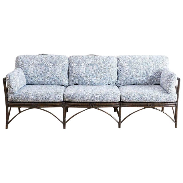 McGuire Blue and White Upholstered Bamboo Rattan Sofa For Sale