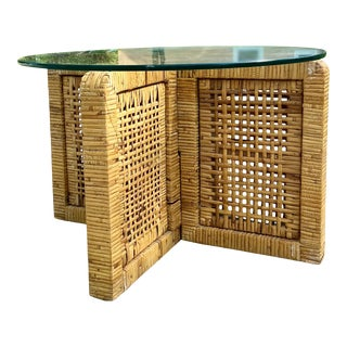 Boho Petite Side Table or Coffee Table   Interlocking Rattan Block Base With Glass Top For Sale