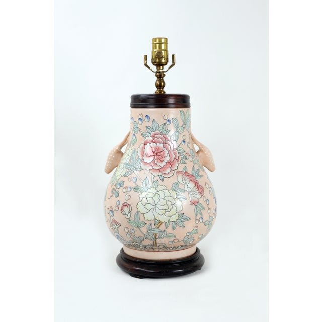 Famille Rose Vase Lamp With Animal Head Handles and Flowers For Sale - Image 9 of 9