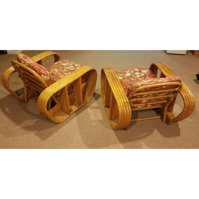1940s Mid-Century Vintage Paul Frankl Style Bamboo Rattan Lounge Chairs - a Pair For Sale - Image 5 of 11