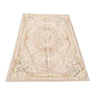 Pale Tone Aubusson Rug - 6′ × 9′ New With Tags, Unused For Sale