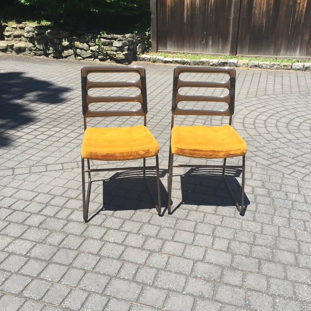 Mid-Century Chrome Craft Amber Lucite & Orange Chairs - A Pair - Image 2 of 10