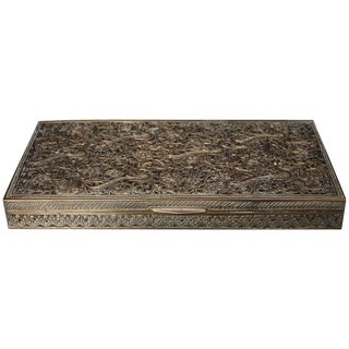 Antique Persian Solid Brass and Cedar Lined Box, Circa 1920s, Persia For Sale