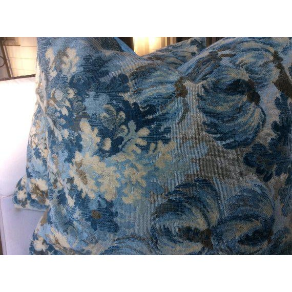 """Traditional Brunschwig and Fils """"Great Ming"""" Twilight Velvet Pillows - a Pair For Sale - Image 3 of 8"""
