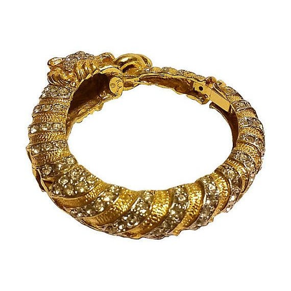 Asian Kenneth Lane Swarovski Lion Clamper Bangle For Sale - Image 3 of 3