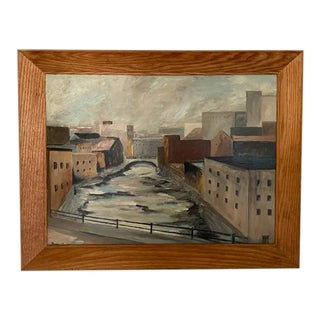 Mid Century Wpa Style City Scape Oil Painting -Chuctanunda - 64. For Sale