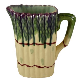Mid-Century French Barbotine Majolica Asparagus Pitcher For Sale