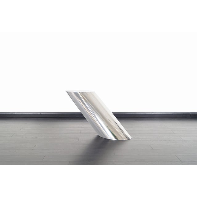 """Brueton Polished Steel """"Zephyr"""" Table by J. Wade Beam - a Pair For Sale - Image 10 of 13"""