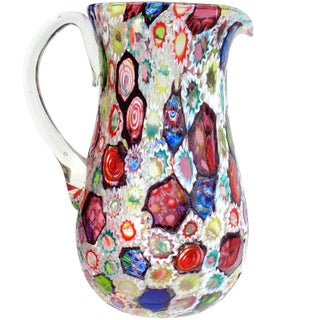 Fratelli Toso Murano Millefiori Flower Star Mosaic Italian Art Glass Pitcher Vase For Sale