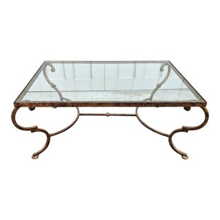 Theodore Alexander Distressed French Regency Wrought Iron Coffee Table For Sale