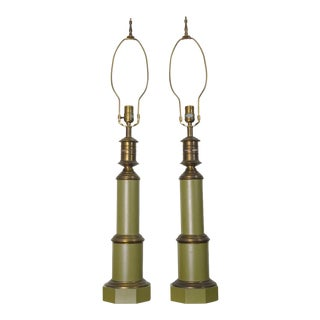 1950s Mid-Century Modern American Industrial Column Lamps - a Pair For Sale