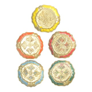 Italian Florentine Coasters, Set of 5 For Sale