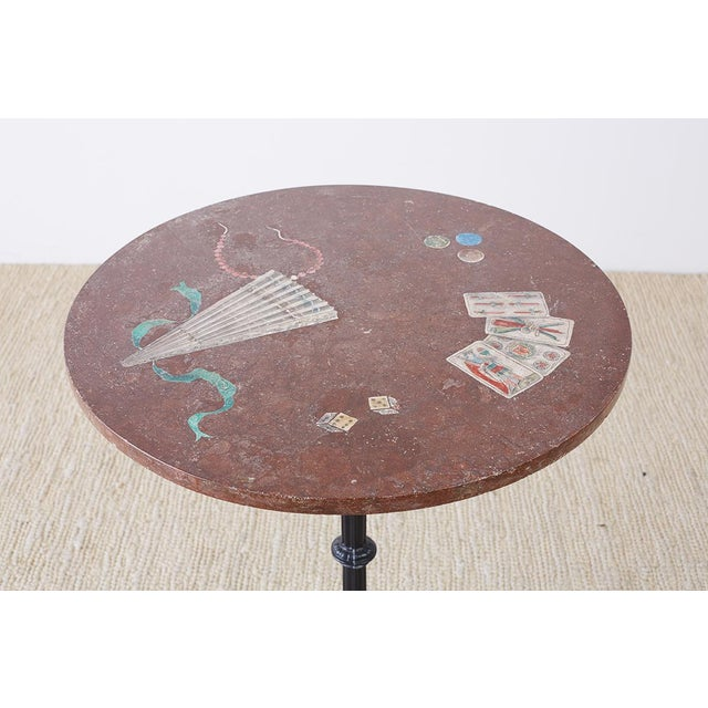 1900 - 1909 French Trompe l'Oeil Marble Granite Inset Bistro Table For Sale - Image 5 of 13