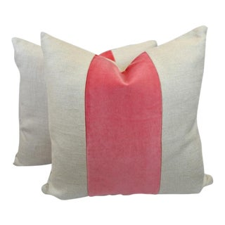 Linen With Coral Blush Velvet Band PIllows - A Pair