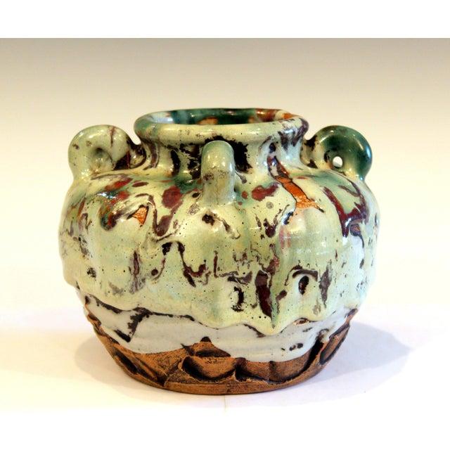 1930s Awaji Pottery Manipulated Jar Gloppy Drip Glaze Zen Tea Ceremony Vase For Sale - Image 5 of 12