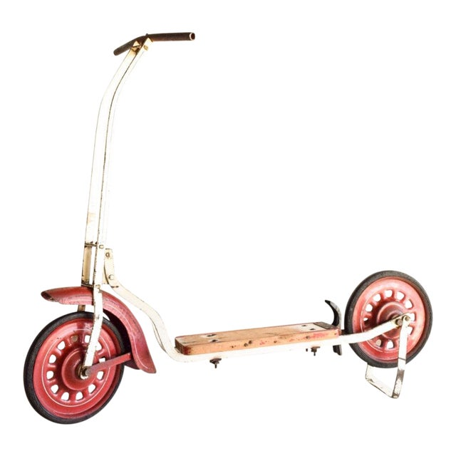 Vintage Antique Metal & Wood Child's Scooter For Sale
