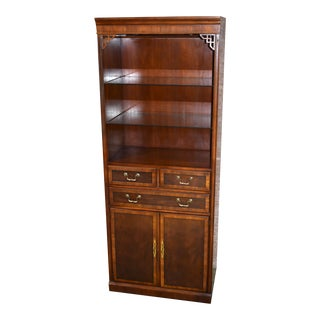 Drexel Inlaid Mahogany Chinese Chippendale Style Curio/Display Cabinet For Sale