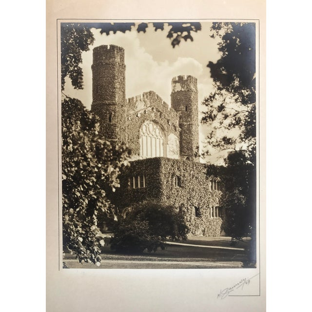 1929 Silverprint photograph of an English, ivy-covered building with gothic architectural elements. Signed and dated lower...