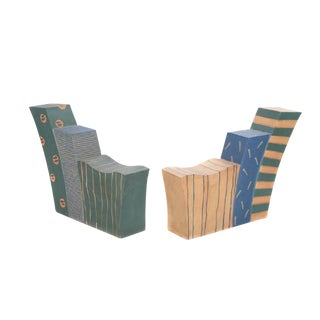 Important Pair of Contemporary Studio Pottery Stoneware Love Seats For Sale