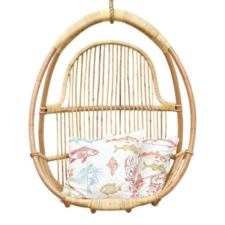Mia Hanging Chair, Beige, Rattan For Sale