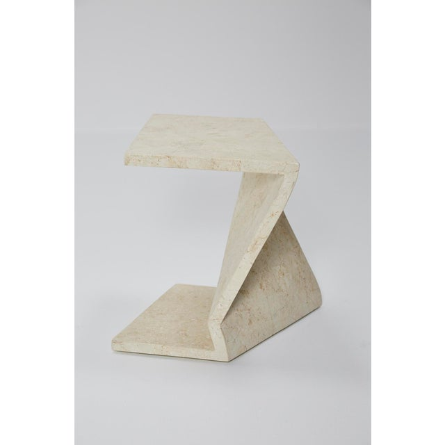 Asian Zig Zag Side Tables or Coffee Table in Tessellated White Stone, 1990s - a Pair For Sale - Image 3 of 13