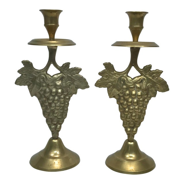 Brass Grape Cluster Candlesticks, A-Pair For Sale