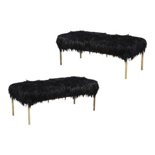 1960s Arthur Elrod Polished Brass and Goat Fur Benches - a Pair For Sale