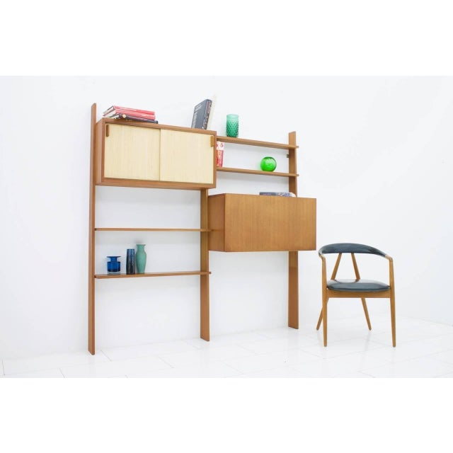 Dieter Waeckerlin Teak Shelf With Seagrass Sliding Doors With a Bar or Desk, 1950s For Sale - Image 10 of 10
