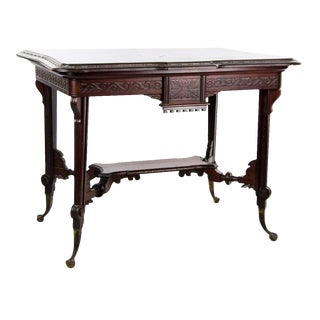 19th Century Aesthetic Movement Carved Mahogany and Brass Center Table For Sale