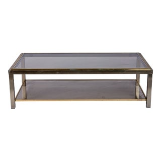 1950's Italian Chrome and Brass Coffee Table by Willy Rizzo For Sale
