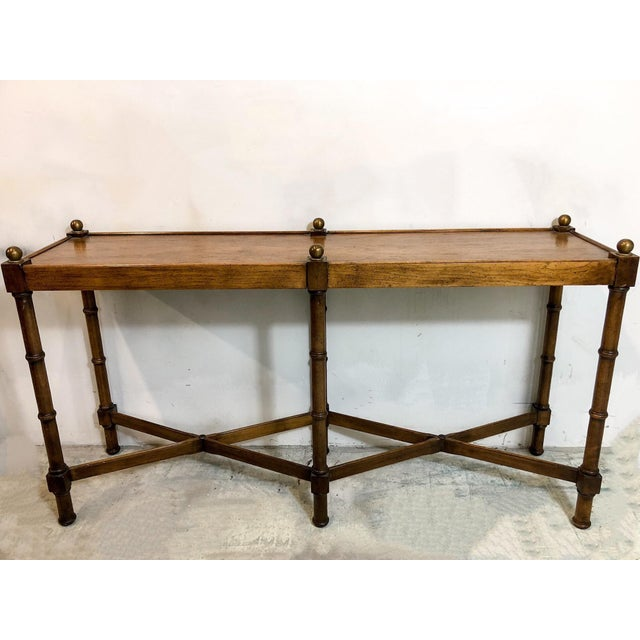 Faux Bamboo Console Table by Brandt For Sale - Image 5 of 5