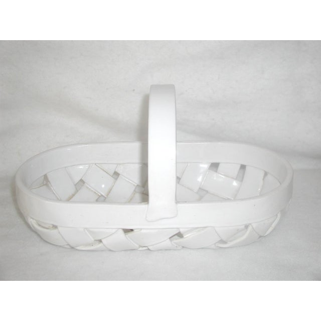 White Vintage Ceramic Lattice Handled Bowl or Planter For Sale - Image 8 of 8