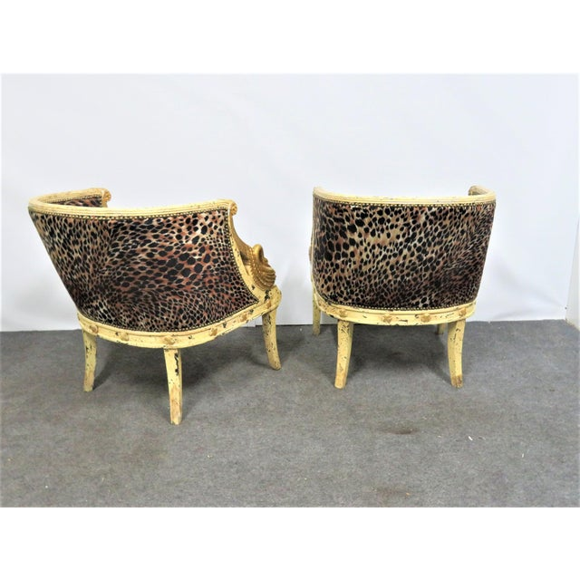 French Style Swan Carved Cream & Gilt Bergeres- a Pair For Sale In Philadelphia - Image 6 of 8