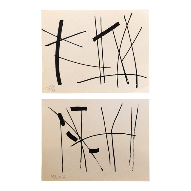 Gallery Wall Collection 2 Original Vintage 1960's Robert Cooke Abstract Paintings For Sale