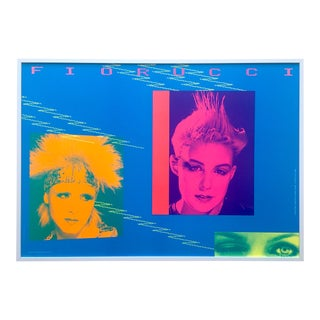 FiorucciVintage 1982 Post Modern Framed New Wave Italian Fashion Collector's Lithograph Print Terry Jones Pop Art Poster For Sale