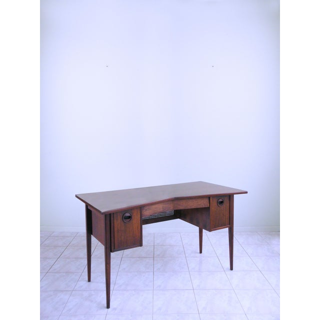 1950s Edward Wormley for Dunbar Teak & Cane Desk For Sale - Image 5 of 6
