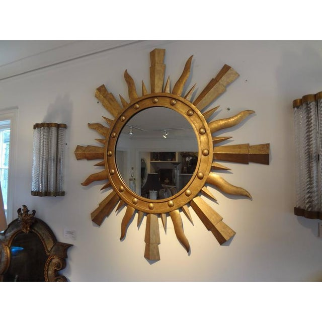 Hollywood Regency 1960's Vintage Italian Gilt Iron Sunburst Mirror in the Style of Gilbert Poillerat For Sale - Image 3 of 9