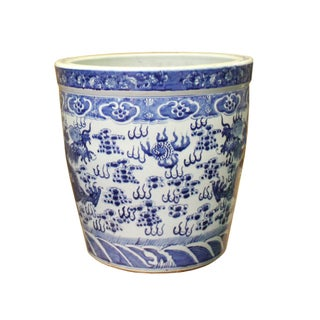 Chinese Blue White Dragon Flower Porcelain Pot Vase Preview
