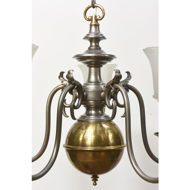 Five Light Pewter and Brass Colonial Revival Chandelier For Sale - Image 10 of 12